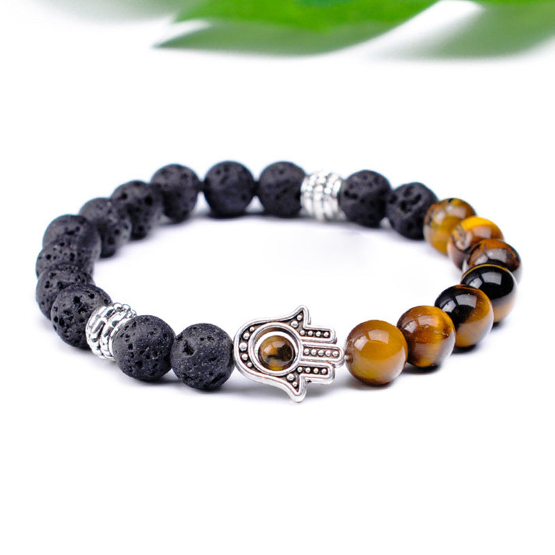Retro 8mm Volcanic Stone Beaded Bracelet
