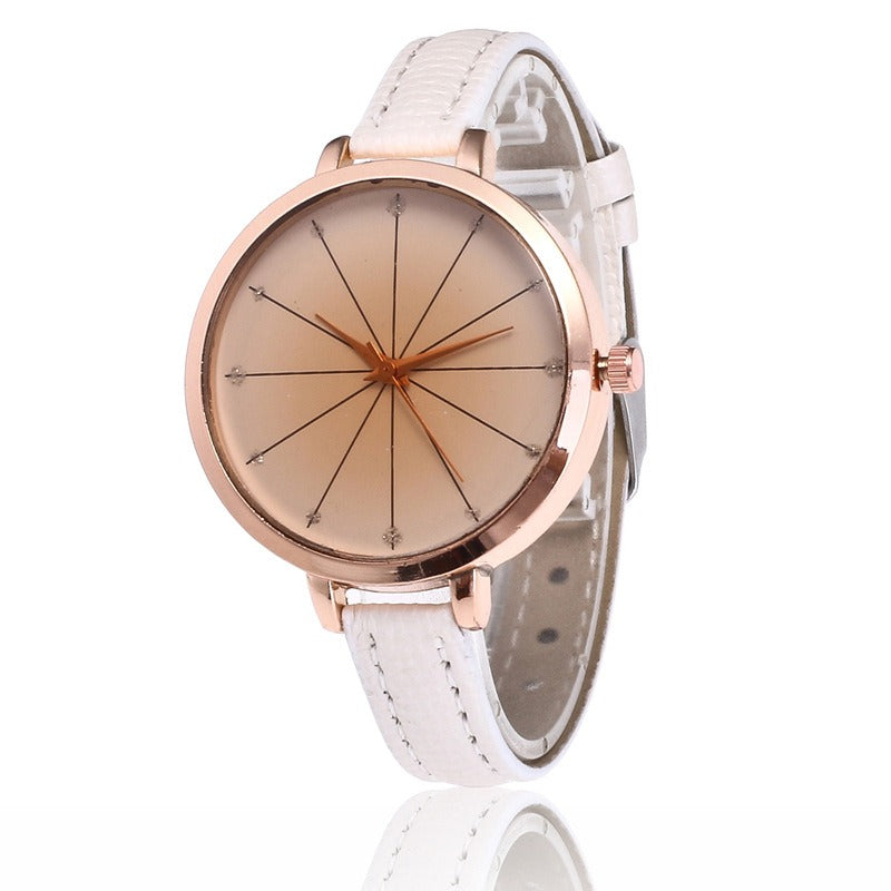 Fashion Cross Line Leather Band Women Quartz Watch