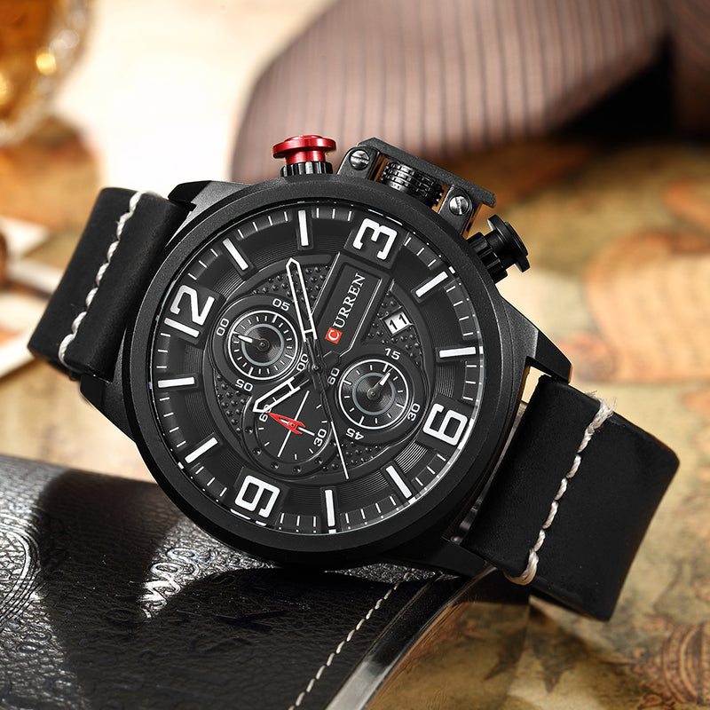 CURREN 8278 Business Style Men Watch Chronograph Genuine Leather Band Quartz Watch