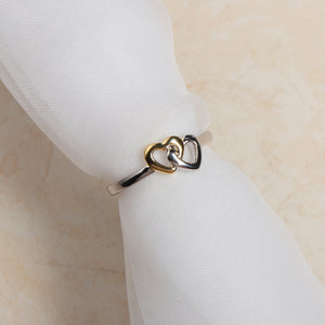 Sweet Gold Silver Heart Women Ring Classic Anallergic