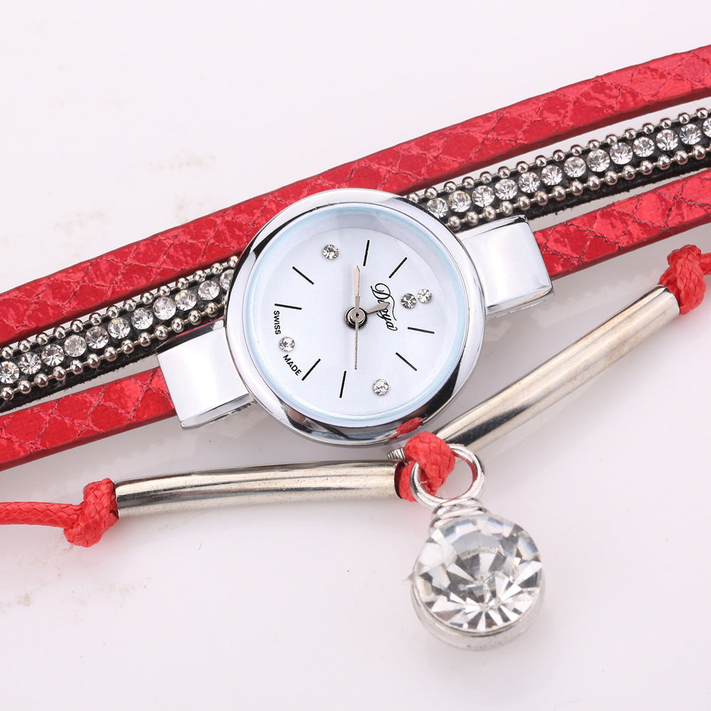 DUOYA D254 Crystal Pendant Women Retro Style Bracelet Watch