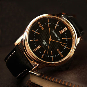 KINGNUOUS 022 Casual Style Leather Strap Men Wrist Watch