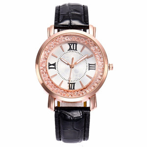 Fashion Rose Gold Flowing Crystal Women Quartz Watch