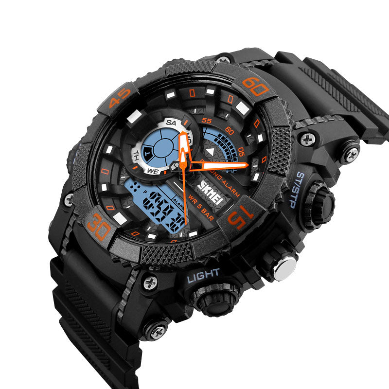 SKMEI 1228 Dual Display Multifunction Digital Quartz 50M Waterproof Chronograph LED Watch