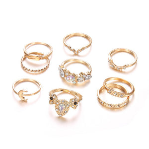 9 Pcs Ethnic Colorful Diamond Ring Set