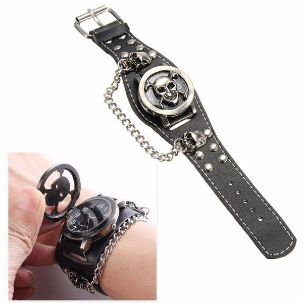 Vintage Punk Gothic Skull Case Leather Band Men Bracelet Quartz Wrist Watch