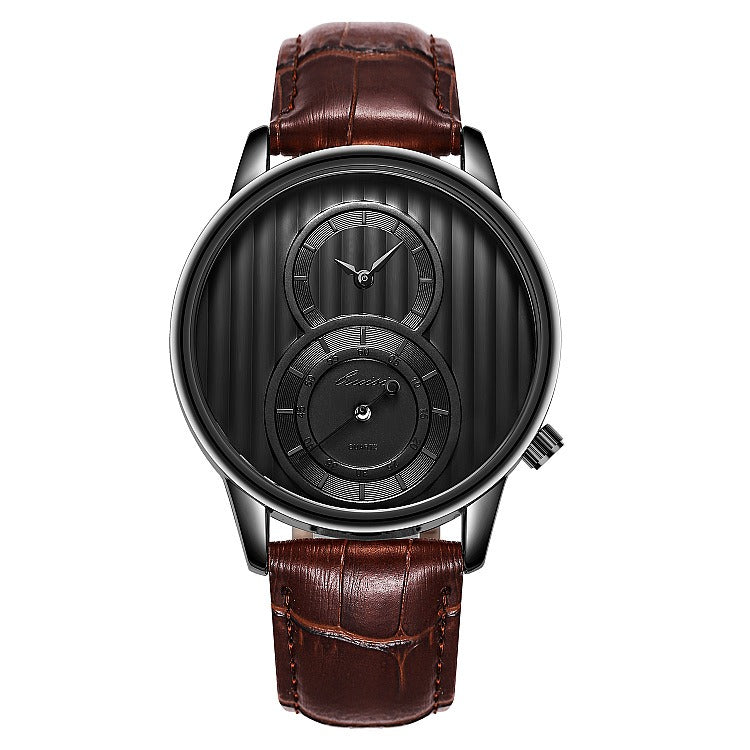 Fashion Organ Two Creative Dial Leather Men Quartz Watch