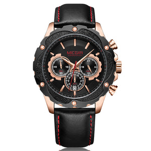 MEGIR 2070 Sport Chronograph Luminous Leather Quartz Watch
