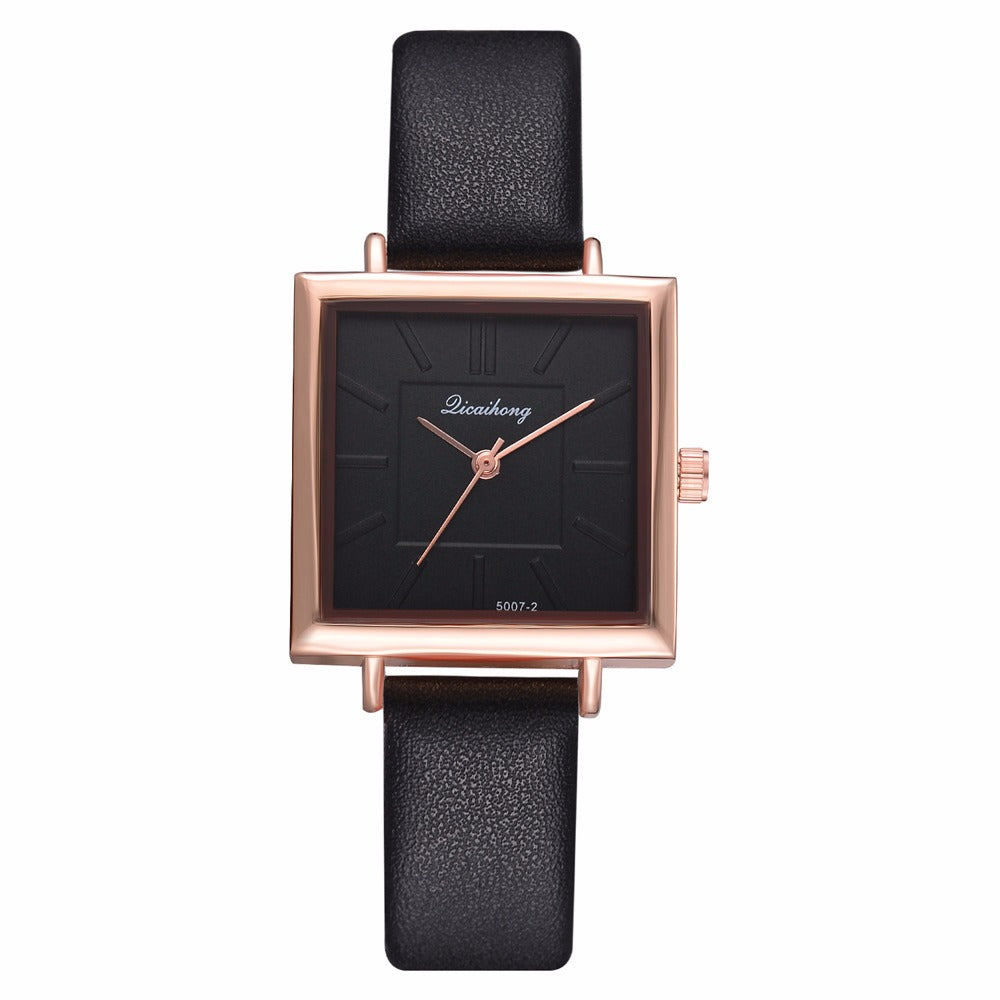 Simple Square Dial PU Strap Women Quartz Watch