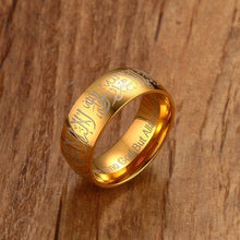 Load image into Gallery viewer, 5mm Stainless Steel Muslim Words Islam Gold Ring Prayer Accessories Jewelry