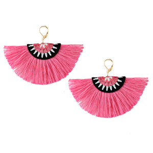 Bohemian Semicircle Tassel Pendant Dangle Women Earring