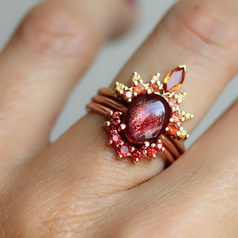 3 Pcs/set Stackable Rings Ruby Crystal Flower Charm Bohemian