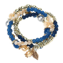 Load image into Gallery viewer, Bohemian Multilayer Crystal Bead Leaf Pendant Bracelet