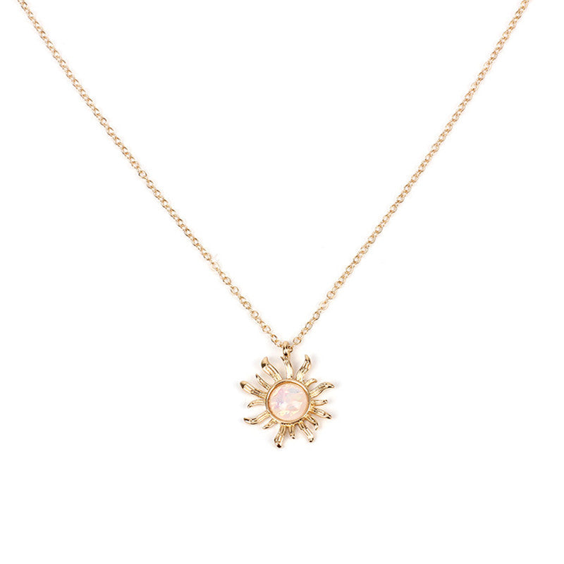 Fashion Silver Gold Sun Flower Pendant Necklace for Women