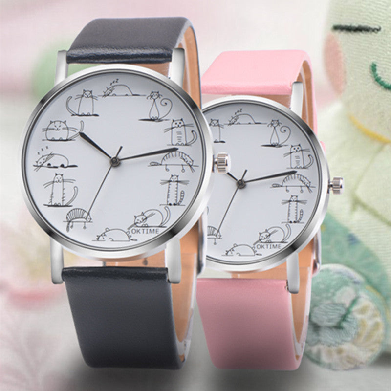 Cute Cat Pattern Fashion Leather Women Quartz Watch
