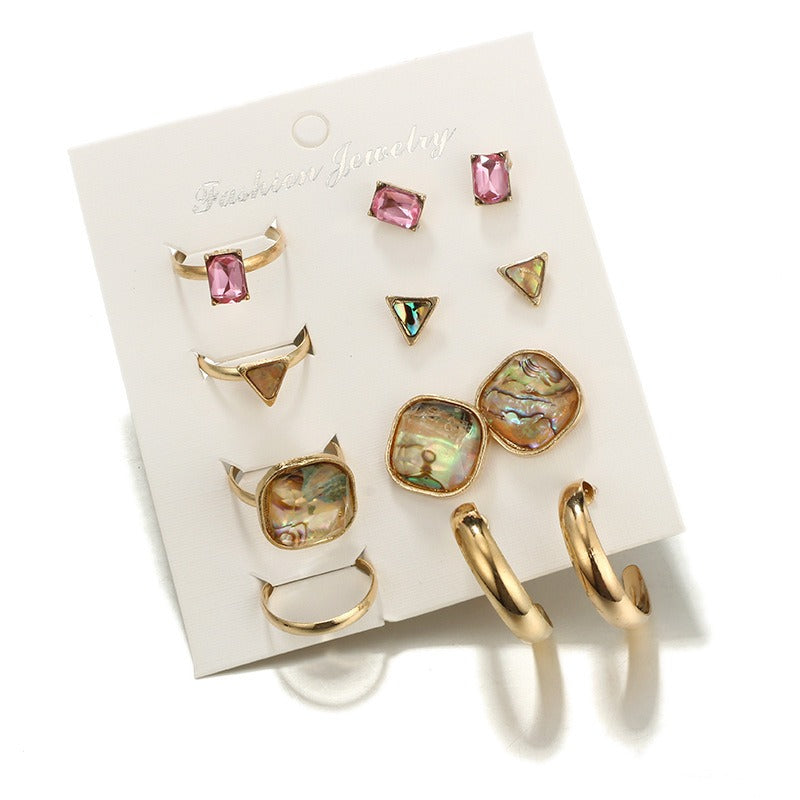 Fashion Style Pink Gemstone Earring Ring Set