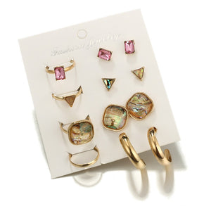 Fashion Style Pink Gemstone Earring Ring Set (01)