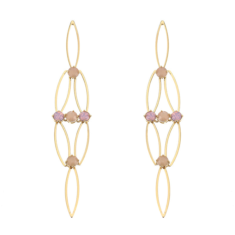 JASSY® Hollow 18K Gold Plated Rose Water Opal Rhinestones