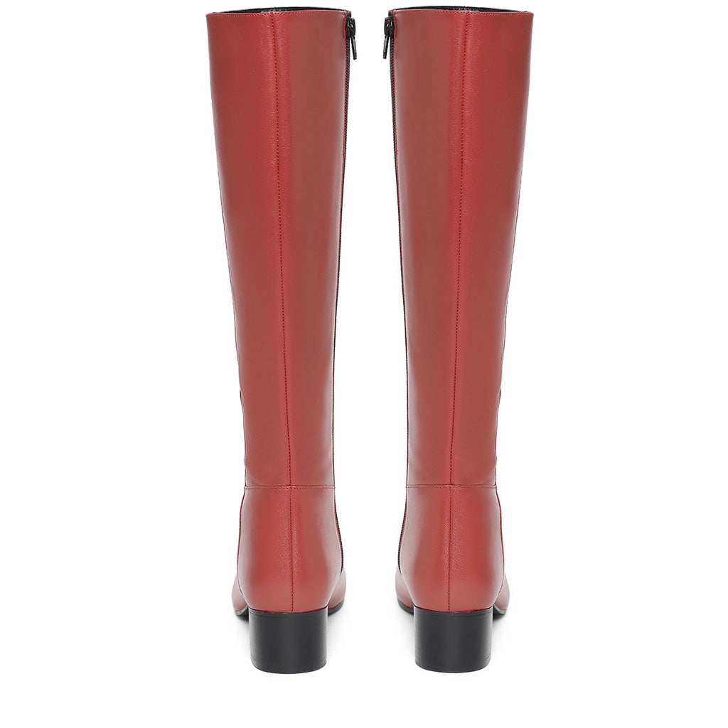 Saint Esther Red Leather Knee High Boots