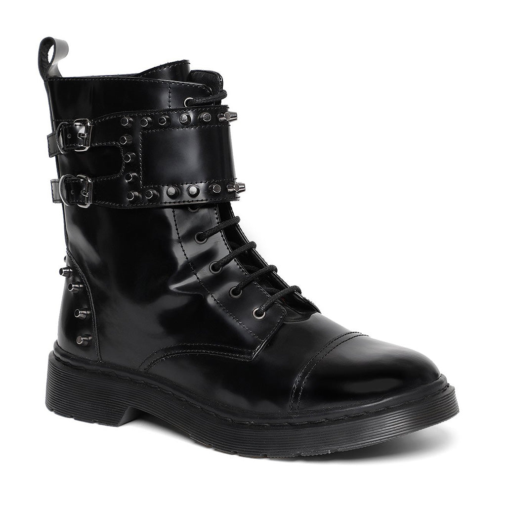 Saint Marcia Black Studded With Lace Up Boots