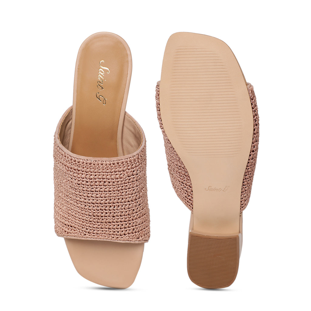 Natural Sea Shell T-Strap Flats - SaintG India