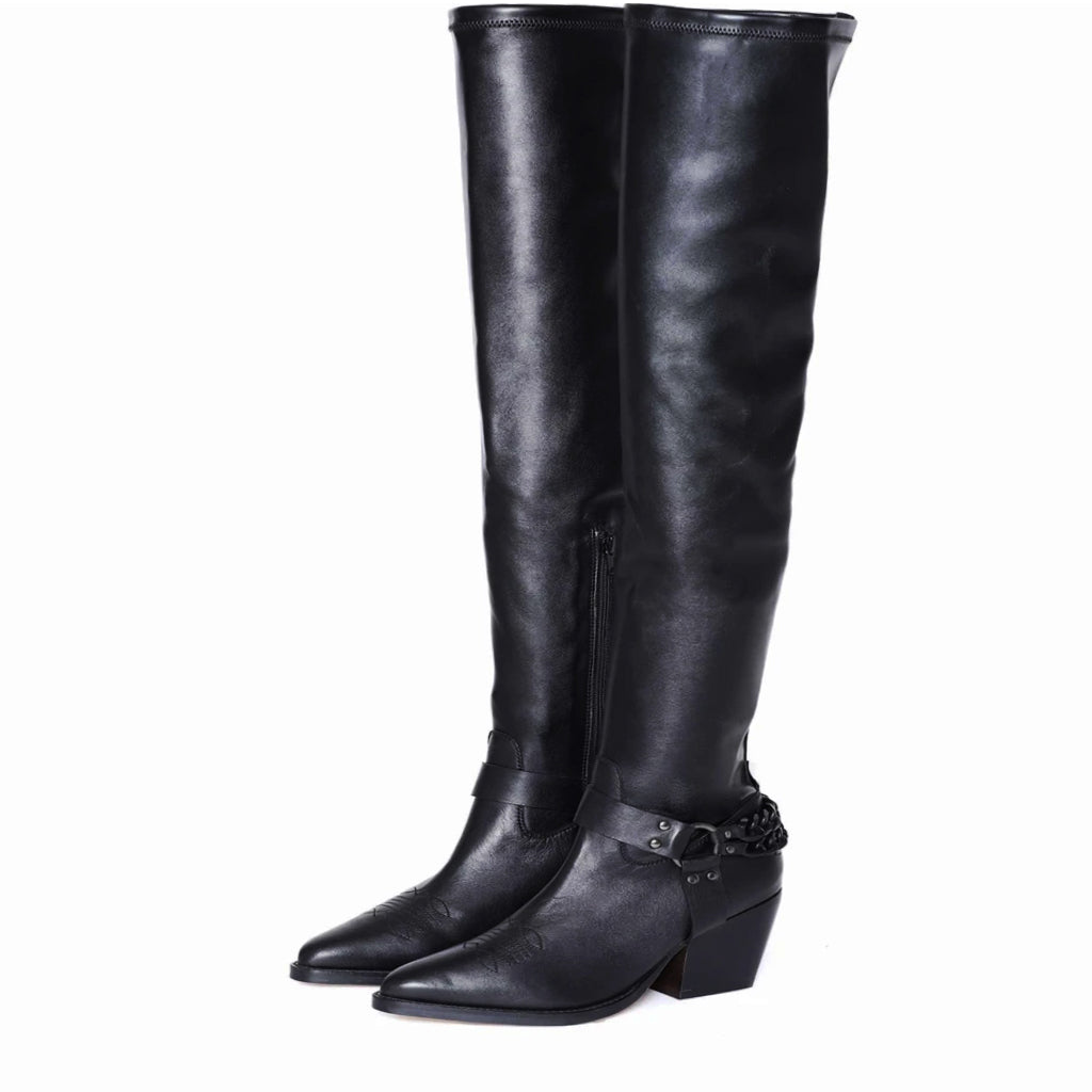 Saint Mareme Black Stretch Faux Leather Above The Knee Boots - SaintG India