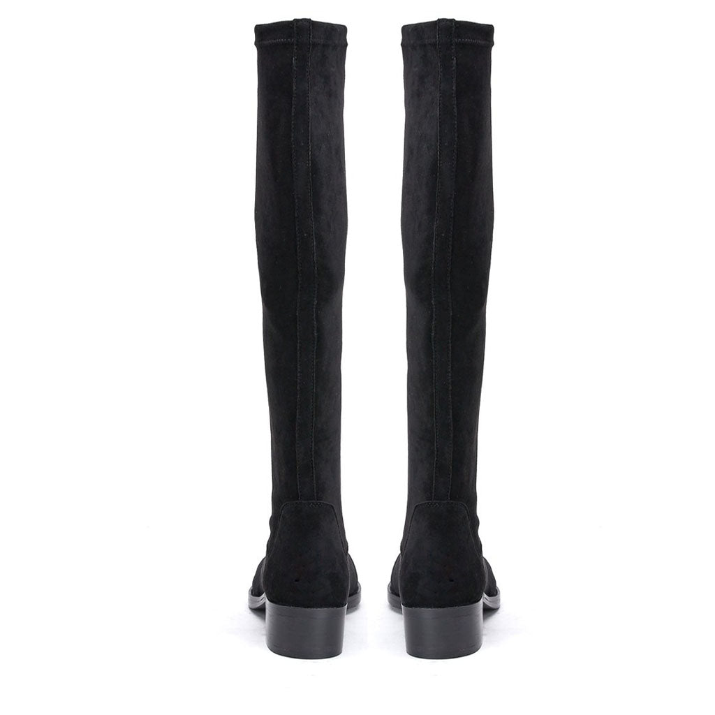 Saint Amy Black Stretch suede Leather Knee High Boots - SaintG