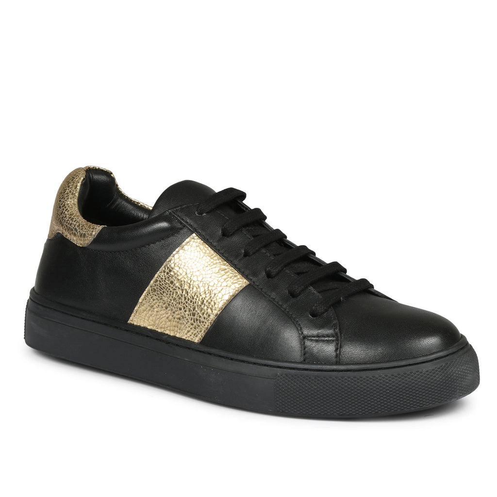 Saint Elen Black and Gold Leather Sneakers - SaintG India