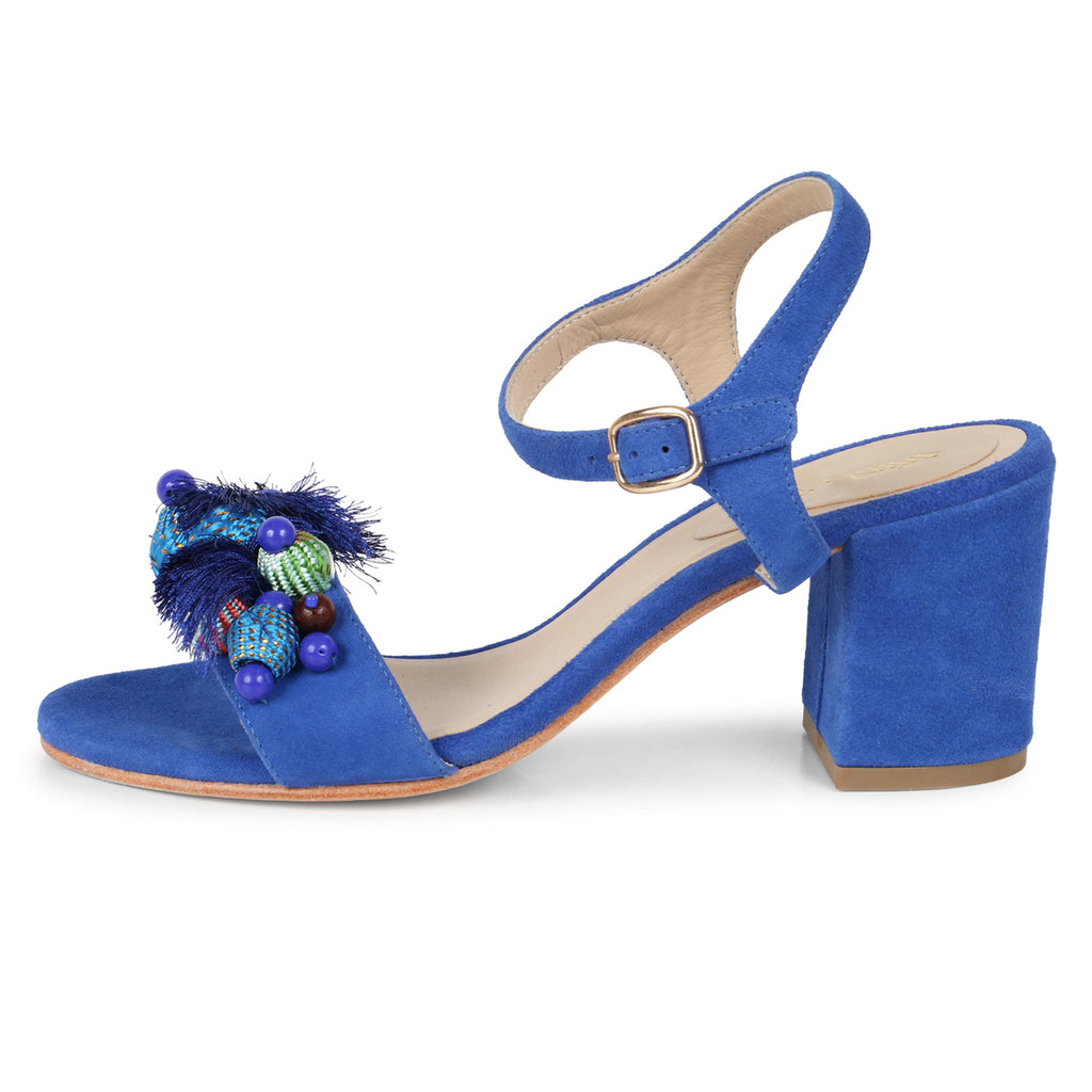 Saint Sierra Blue Leather Block Heel - SaintG India