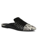 Grey Python and Black Woven Leather Mules - SaintG India