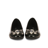 Saint Jovena Stones Embellished Black Leather Ballet Flats - SaintG India