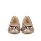 Saint Jovena Stones Embellished Silver Metallic Leather Ballet Flats - SaintG