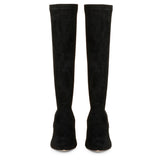 Saint Jemima Black Stretch Suede Kitten Heel Below The Knee Calf Boots