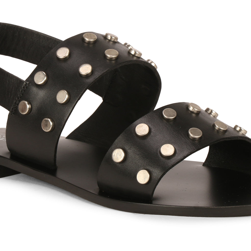 Saint Ventura Double Strap Metal Studded Black Leather Flats - SaintG India
