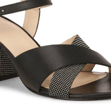 Saint Leonora Metal Studded Black Leather Block Heel - SaintG India