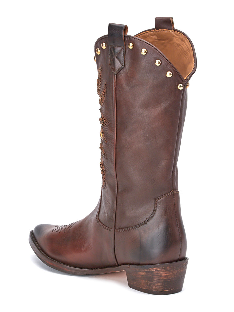 Saint Kateri Brown Leather cowboy Boot - SaintG India