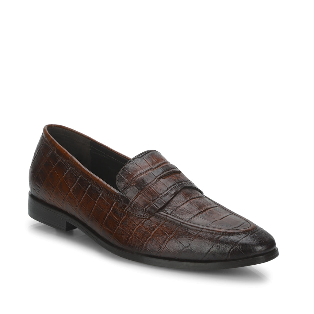 Saint Ansprand  Brown Croco Leather Embossed Loafers