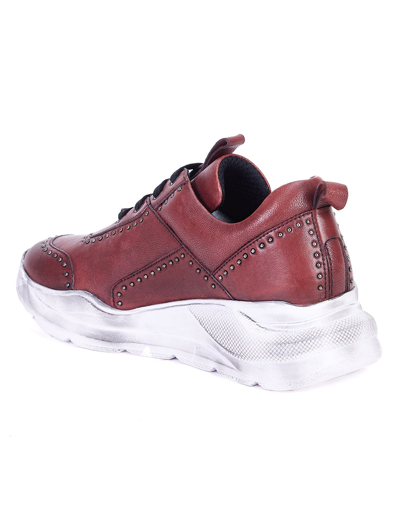 Saint Alphonso Red Leather Sneakers - SaintG India