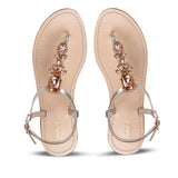 Saint Alena Rose Gold Stone Embellished Flats - SaintG India