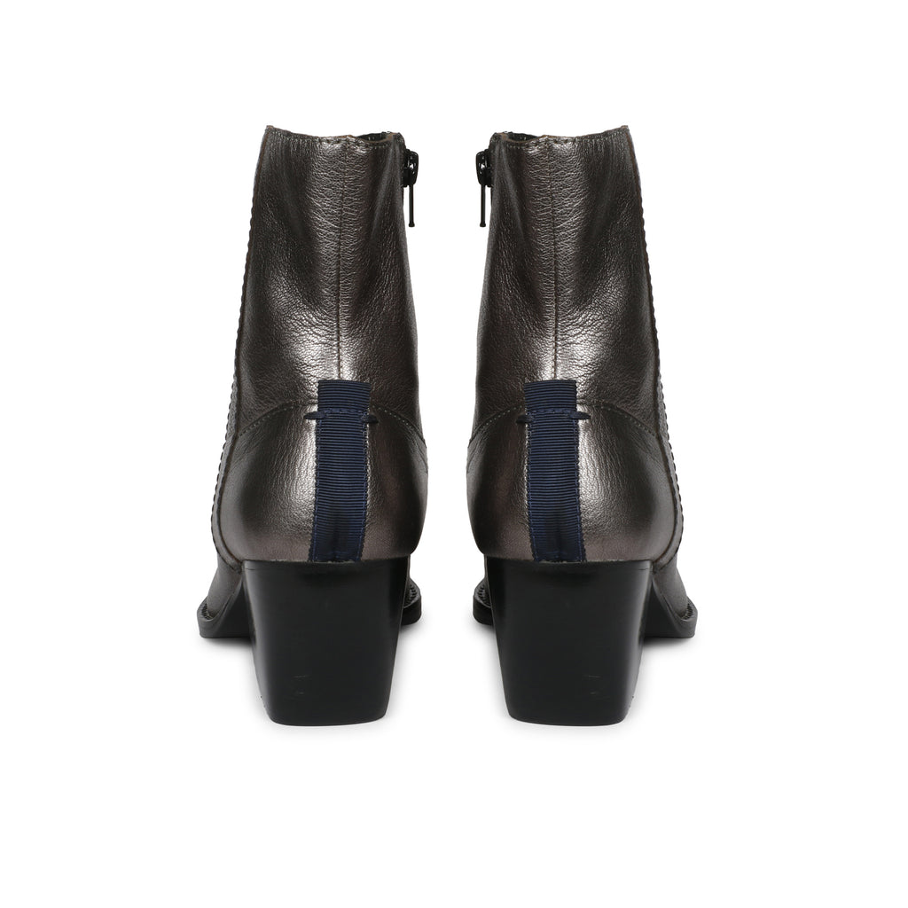 Saint Aldona Metallic Grey Leather Ankle Boot - SaintG India