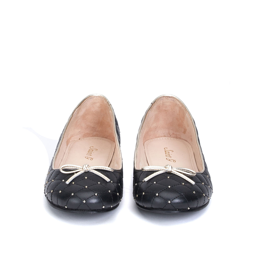 Saint Anya Black Leather Ballerina's - SaintG India