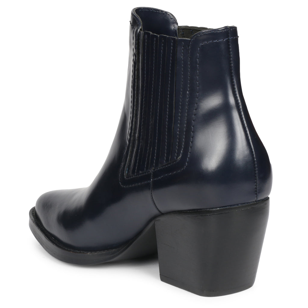 Saint Helena Blue Leather Ankle Boots - SaintG India