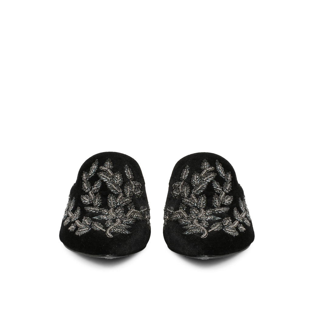 Saint Sofia Black Leather Hand Embroider Mules - SaintG India