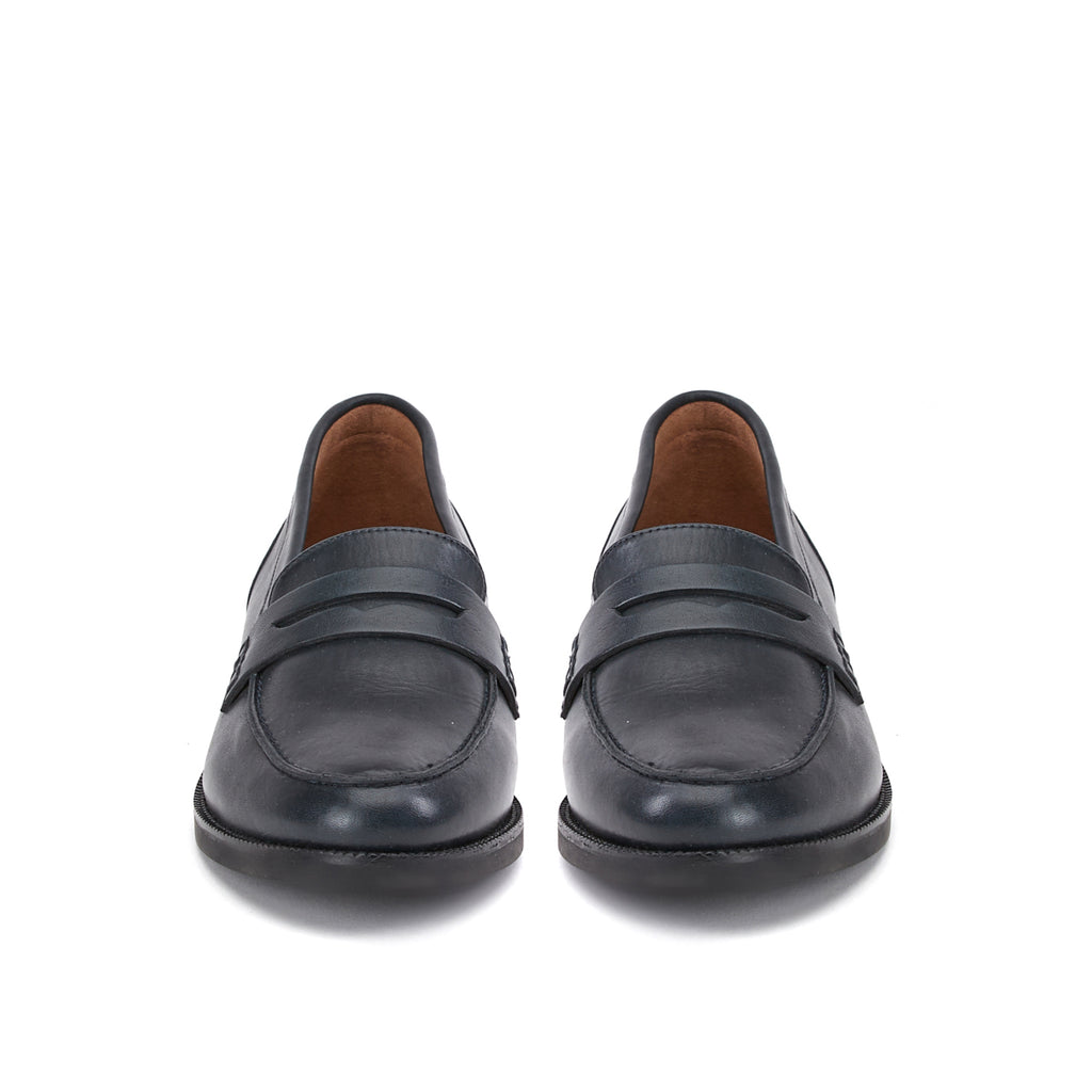 Saint Alena Dark Navy Leather Shoes - SaintG India