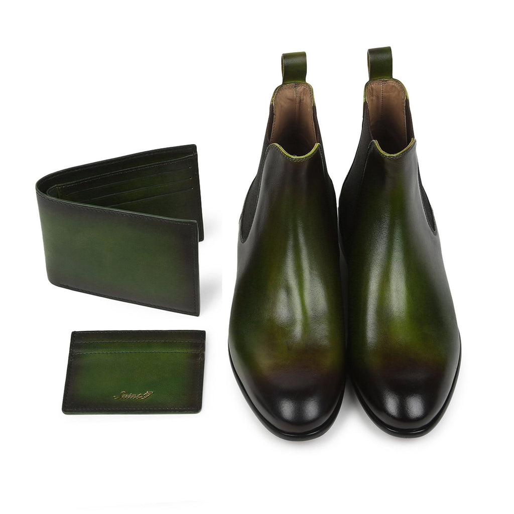 Saint Agostino Two Color Toned Olive Leather With Set