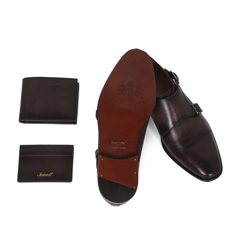 Saint Alboin Two Color Toned Red Leather Double Buckled Monk Strap Bespoke Set