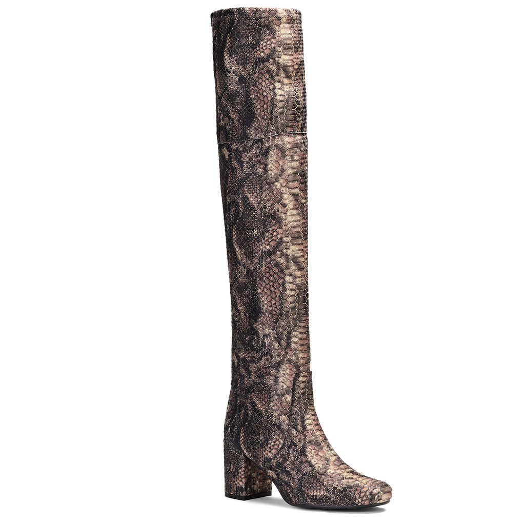 Saint Inez Python Print Brown Stretch Fab Above The Knee Heeled Boots