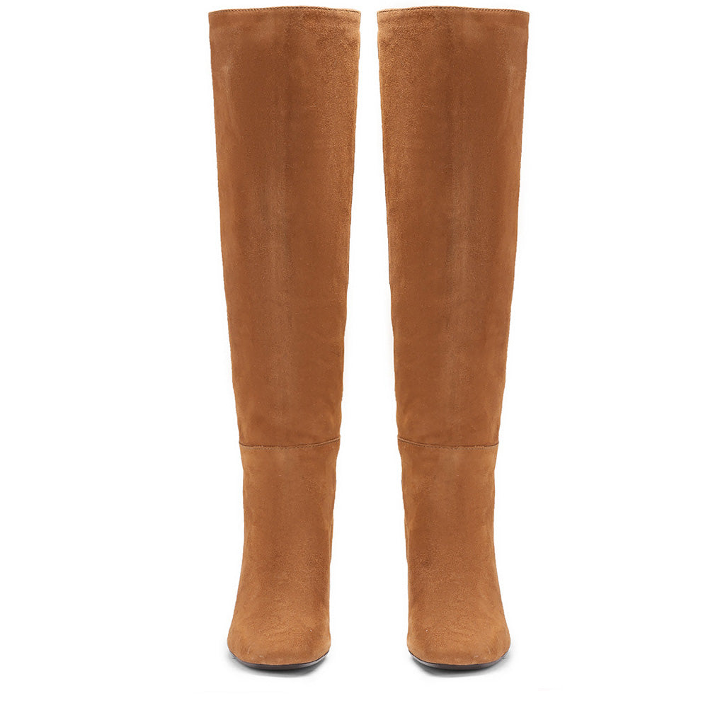 Saint Priscilla Tan Suede Leather Knee High Slouch Boots