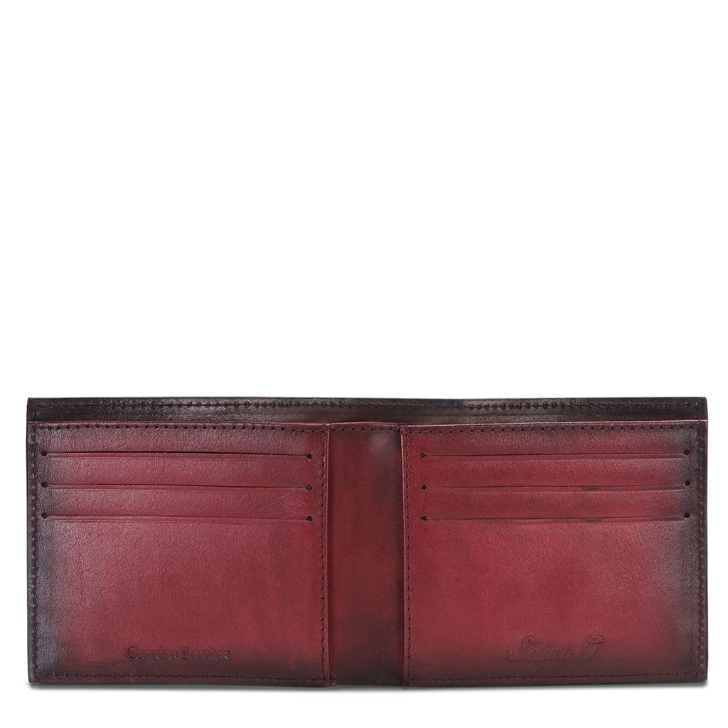 Red Italian Leather Men's Wallet Set - SaintG