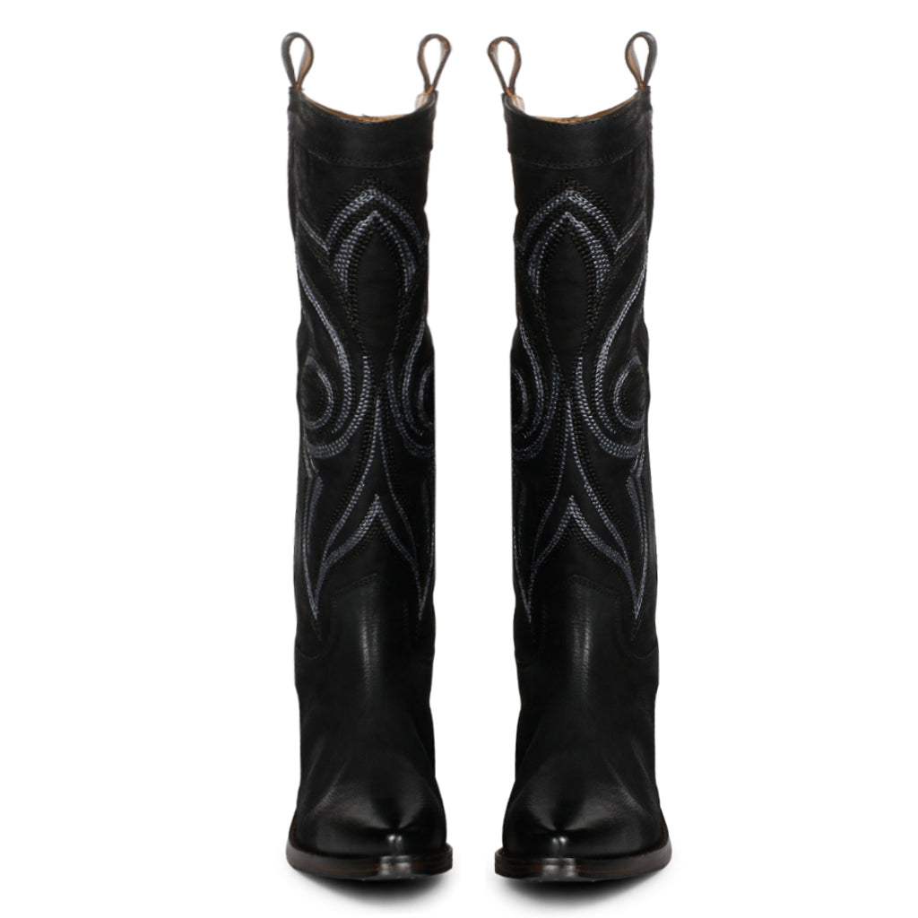 Saint Ashley Black Leather cowboy Calf Length Boot